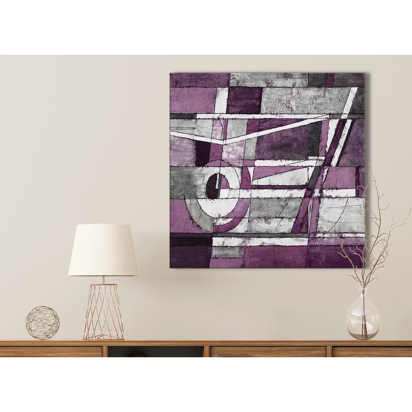 Aubergine Grey White Painting Bathroom Canvas Pictures Accessories Abstract 1s406s 49cm