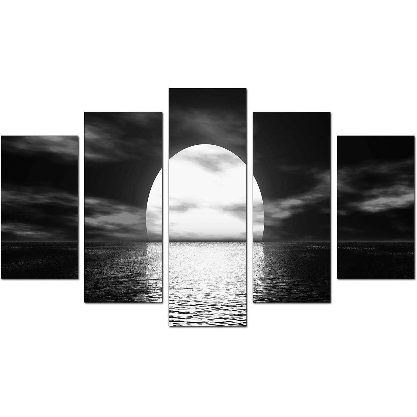 Black And White Canvas Wall Art extra large sunset canvas prints uk set of five in black & white