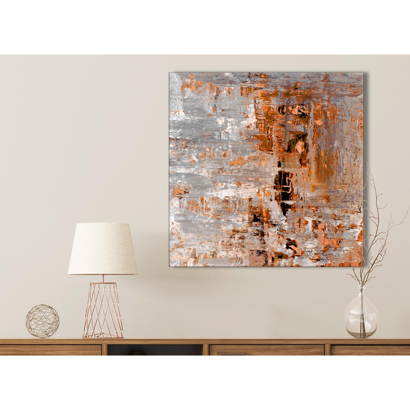 Burnt Orange Grey Painting Bathroom Canvas Wall Art