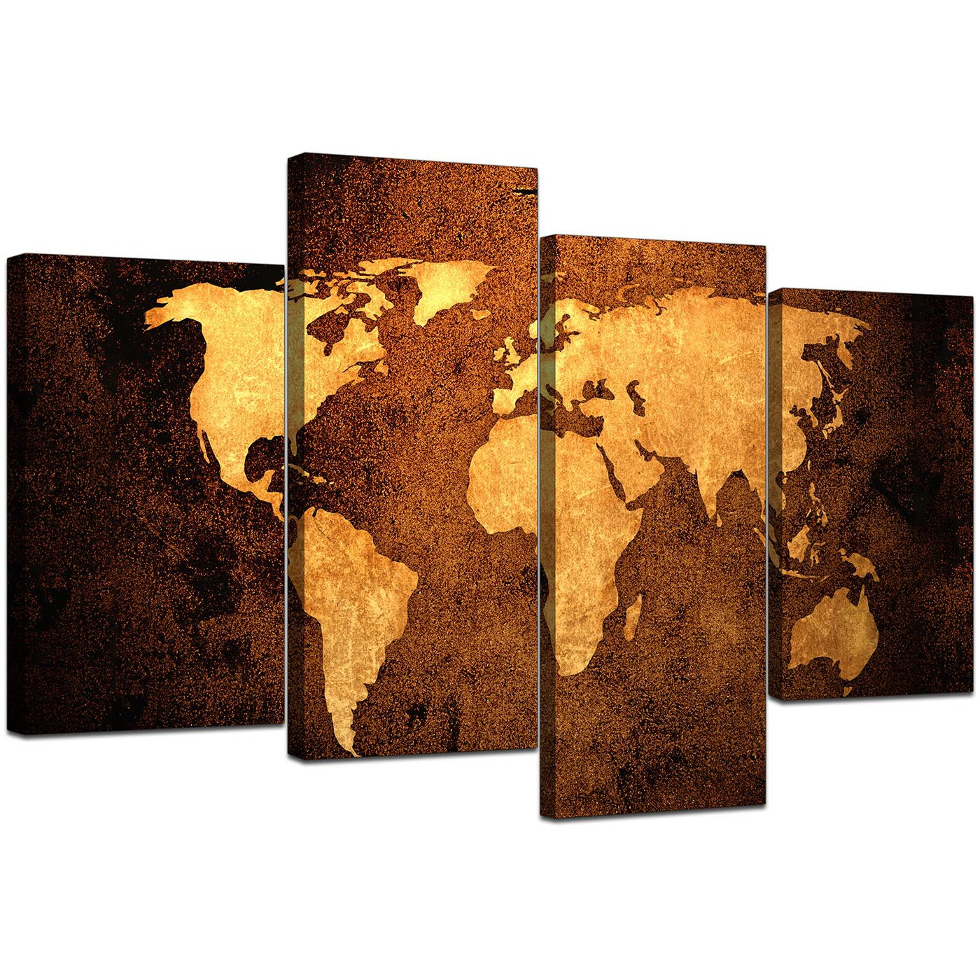 Canvas Pictures Of A World Map In Brown For Your Bedroom