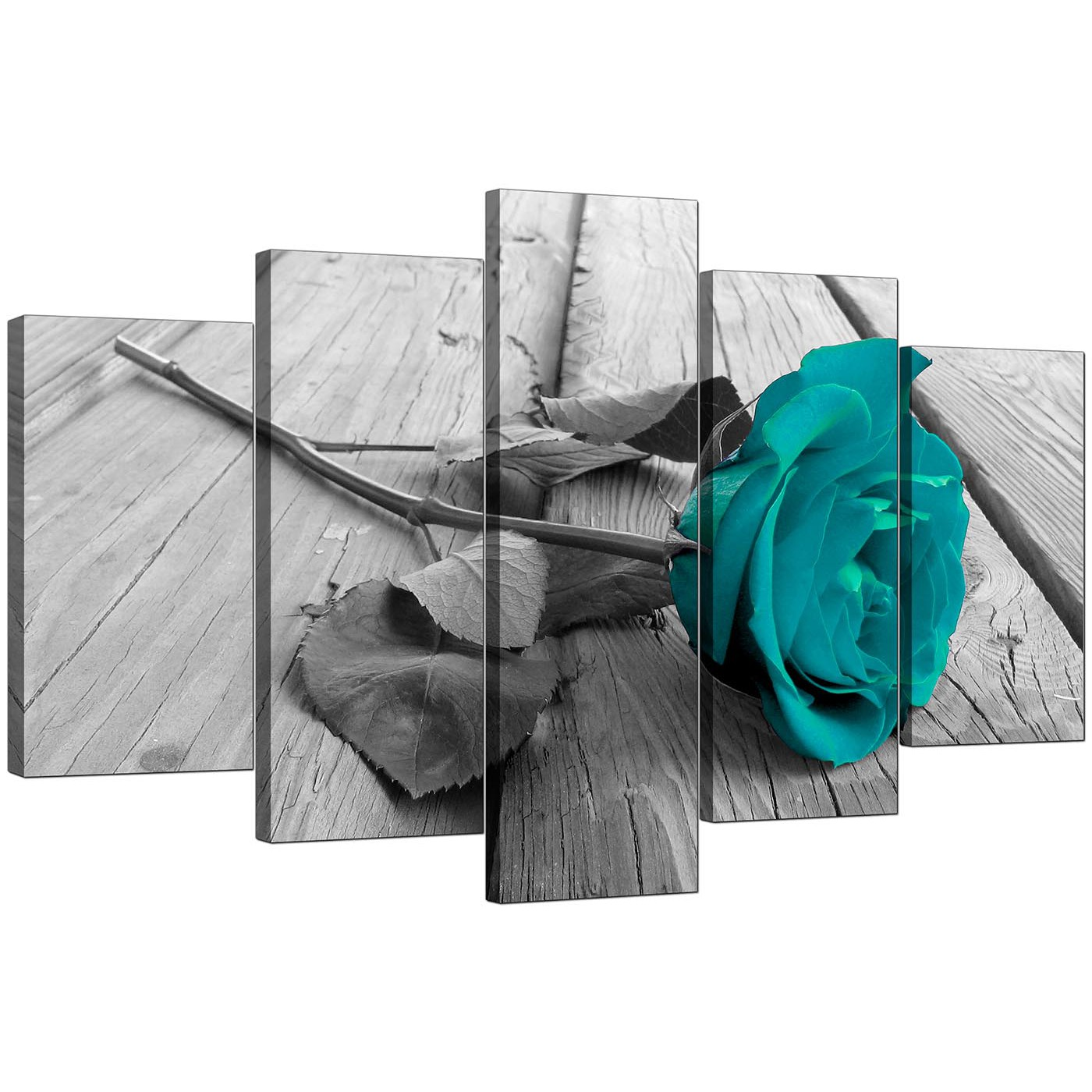 Black And White Canvas Wall Art extra large teal rose canvas prints set of 5 in black & white