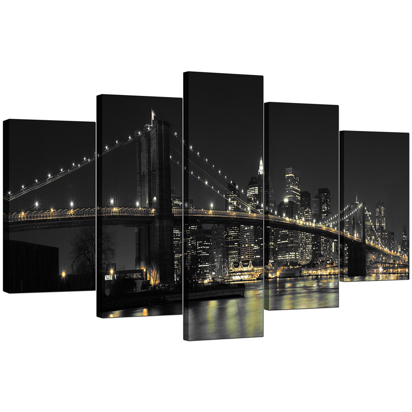 Display Gallery Item 4; Set Of 5 Living Room Black White Canvas Pictures  Display Gallery Item 5 Part 48