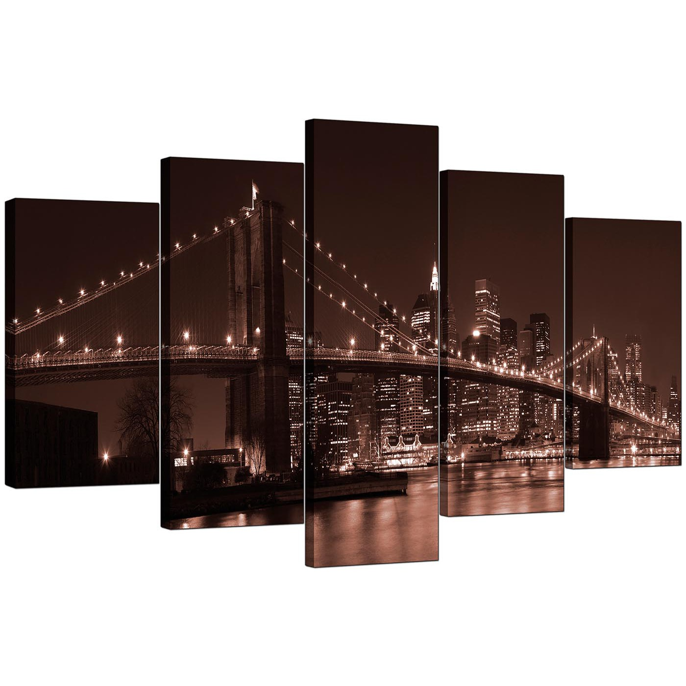 Extra Large New York Canvas Prints 5 Piece in Brown : cheap 5 part set brown new york brooklyn manhattan canvas art 51221 from www.wallfillers.co.uk size 1400 x 1400 jpeg 243kB