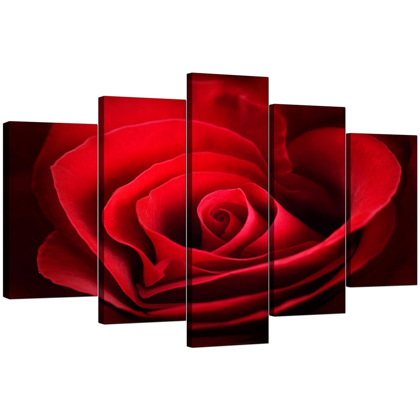 Extra large rose canvas wall art 5 panel in red for Red wall art