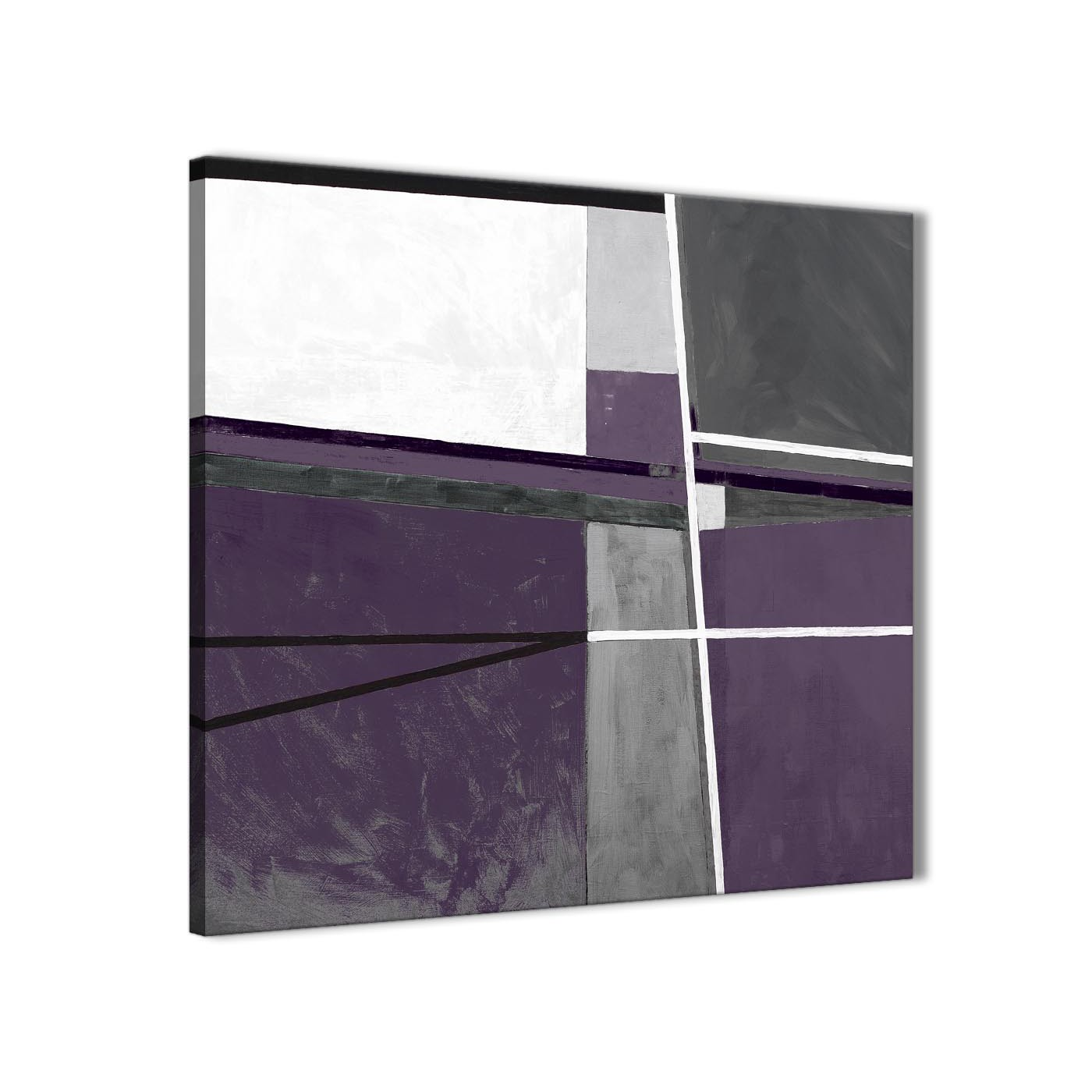 Aubergine Grey Painting Bathroom Canvas Pictures Accessories Abstract 1s392s 49cm Square Print