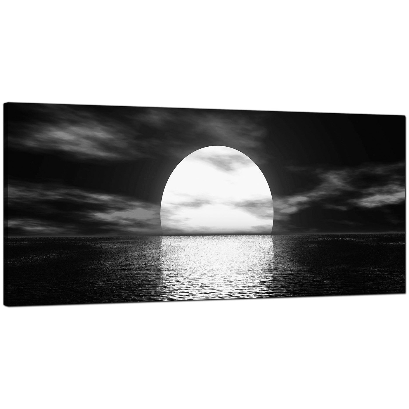 Black And White Canvas Wall Art modern black and white canvas wall art of an ocean sunset