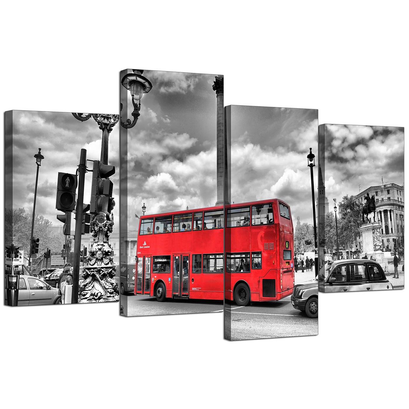 City london canvas prints of red bus in black white for for Cheap black and white prints