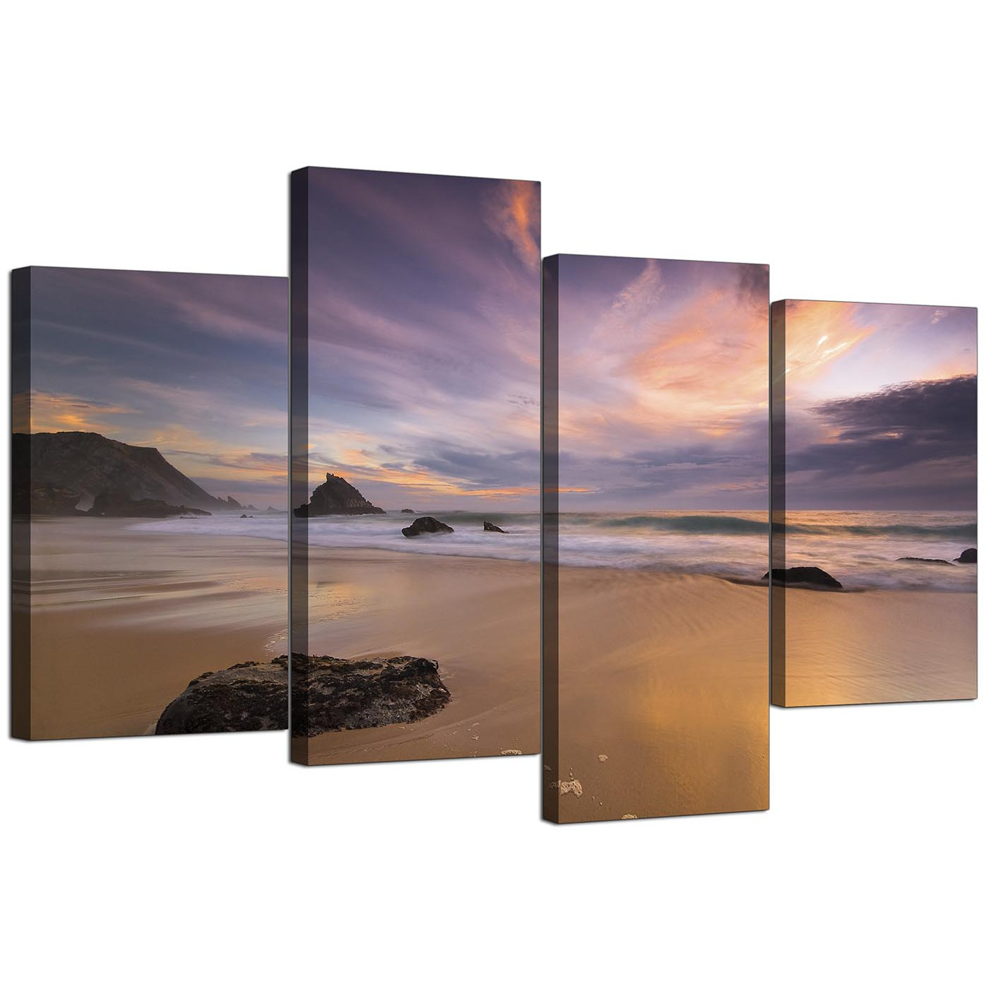 Canvas prints of a beach sunset for your kitchen 4 panel for Cheap canvas prints for sale