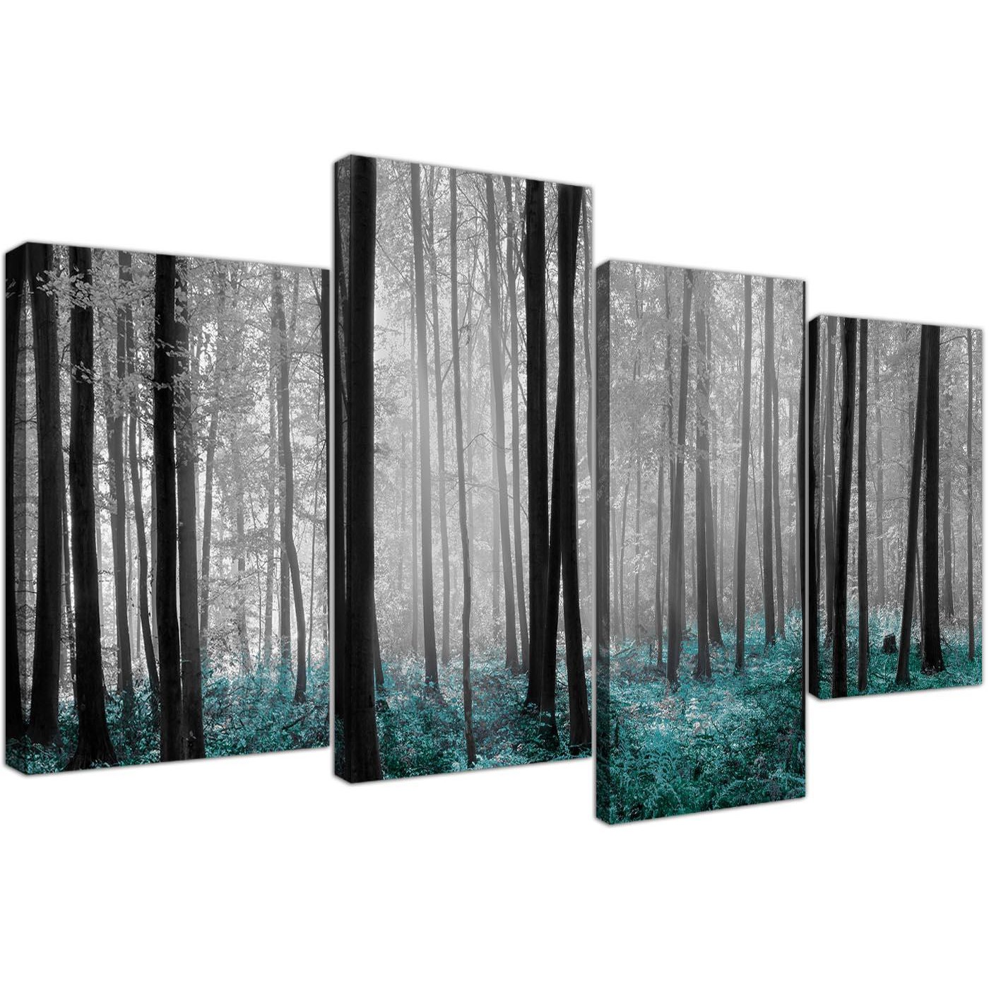 black white teal forest trees canvas wall art print. Black Bedroom Furniture Sets. Home Design Ideas