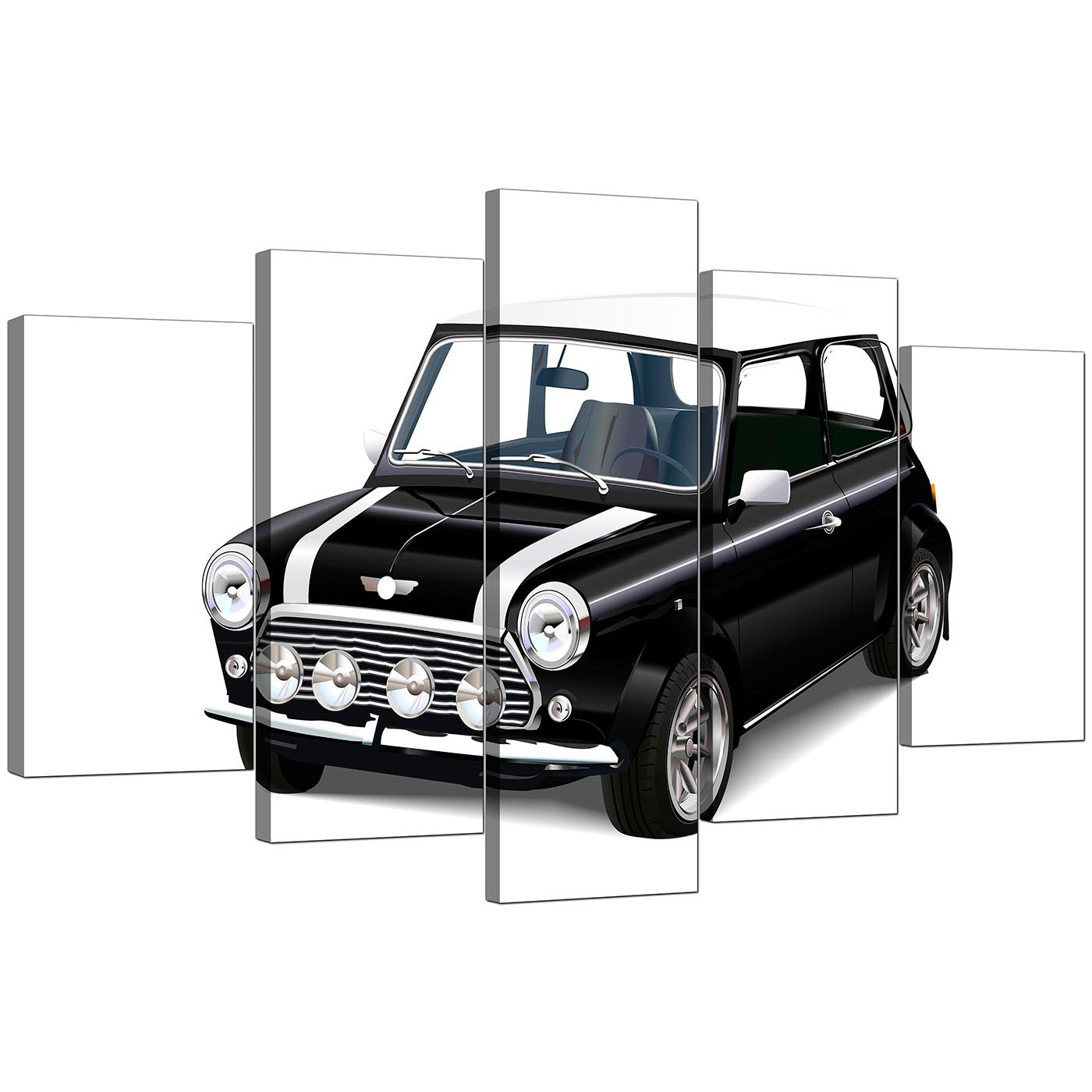 Extra Large Mini Cooper Canvas Prints Set of Five in Black  : cheap five panel set black white mini cooper canvas wall art 50951 from www.wallfillers.co.uk size 1400 x 1400 jpeg 172kB