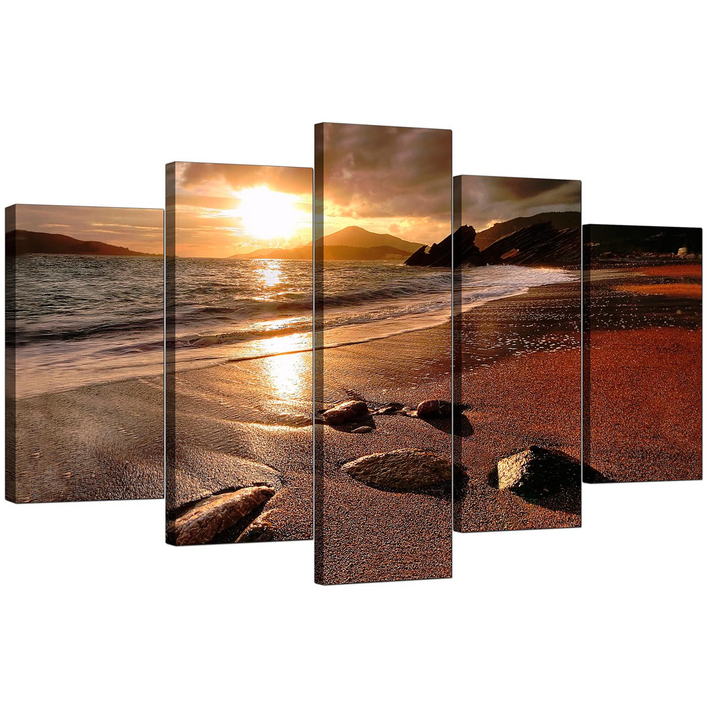 beach sunset canvas art for your dining room - set of five