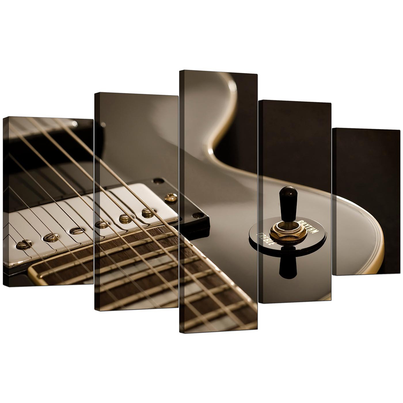 Extra Large Guitar Canvas Prints Uk 5 Piece In Black Amp White