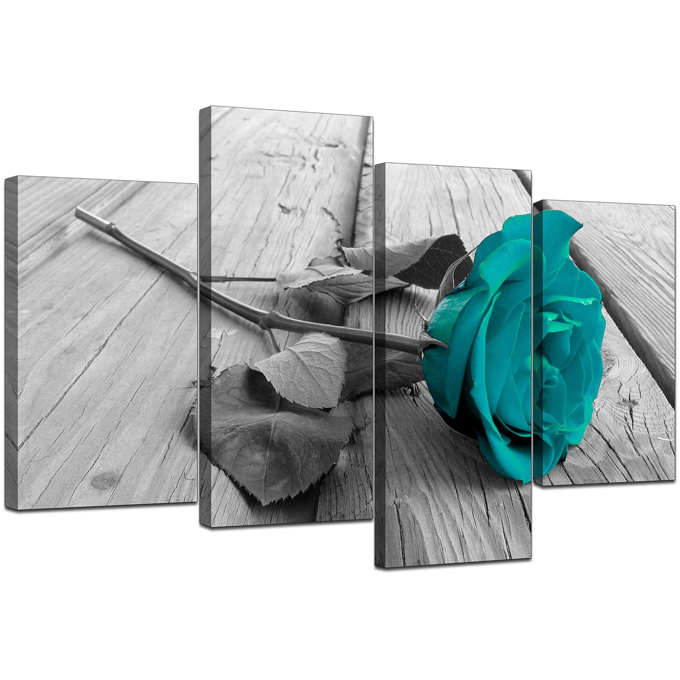 Canvas prints uk of teal rose in black white for your for Cheap black and white prints