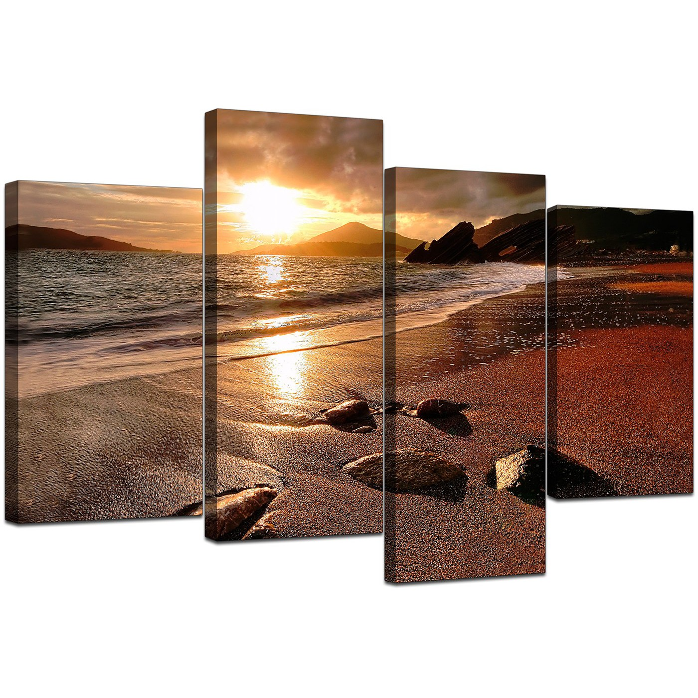 Wall Art Sets For Living Room Canvas Art Of Beach Sunset For Your Living Room 4 Panel
