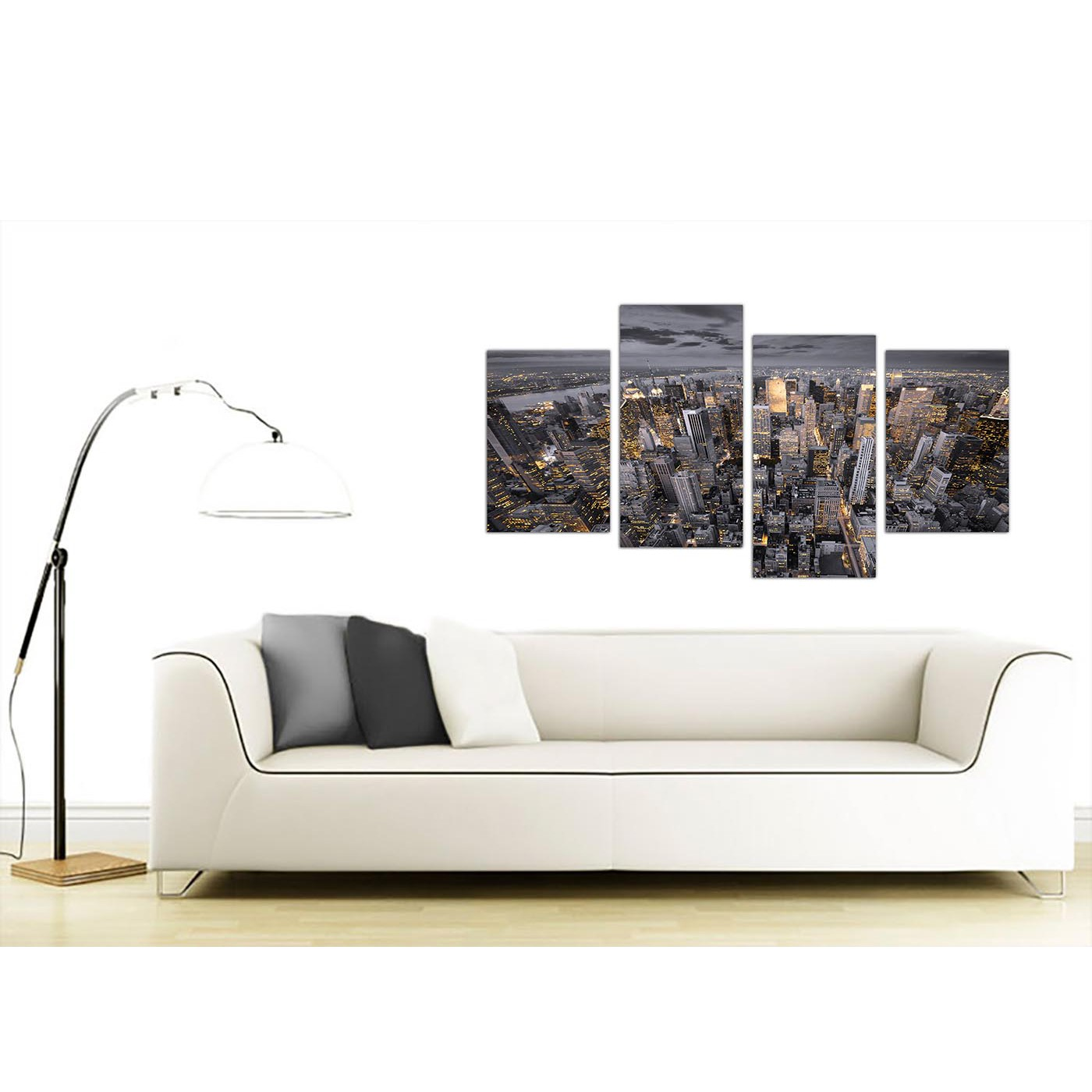 Large black and white new york skyline canvas multi 4 for Sofa bed 130cm wide