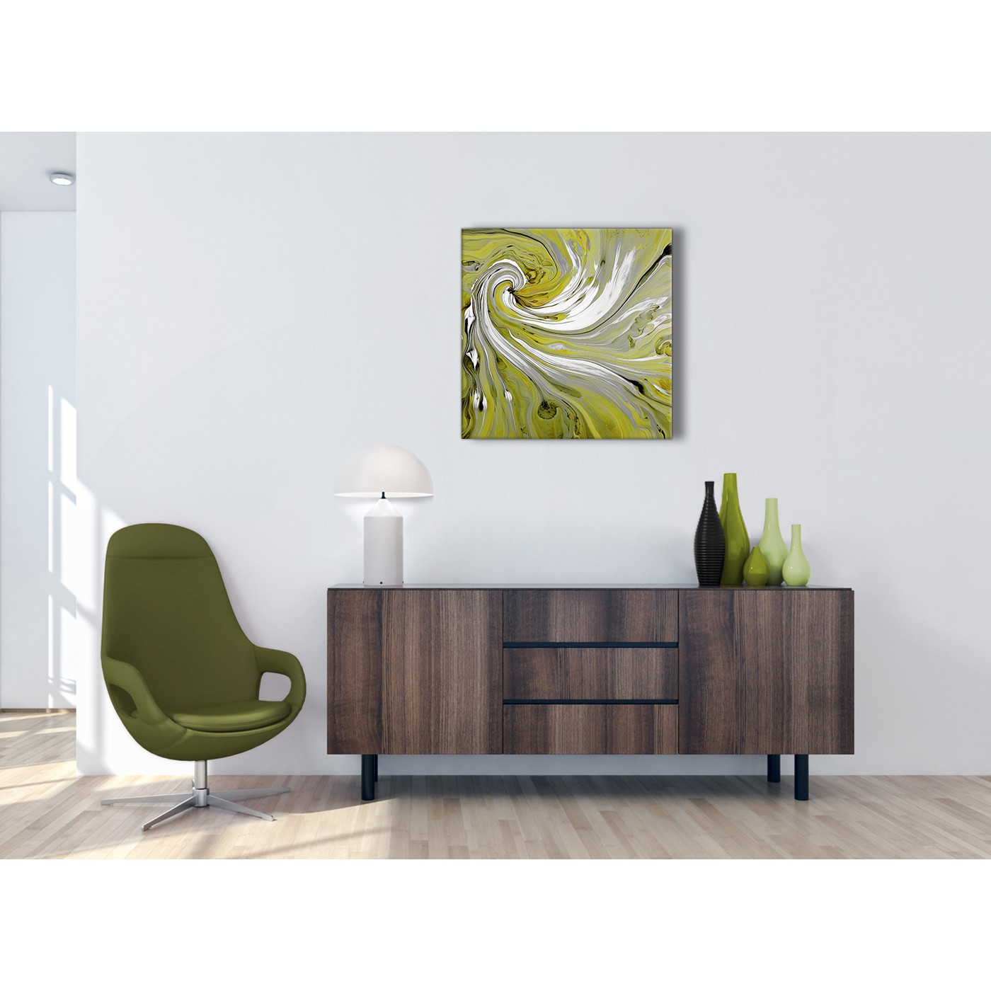 Lime green swirls modern abstract canvas wall art modern for Lime green wall art