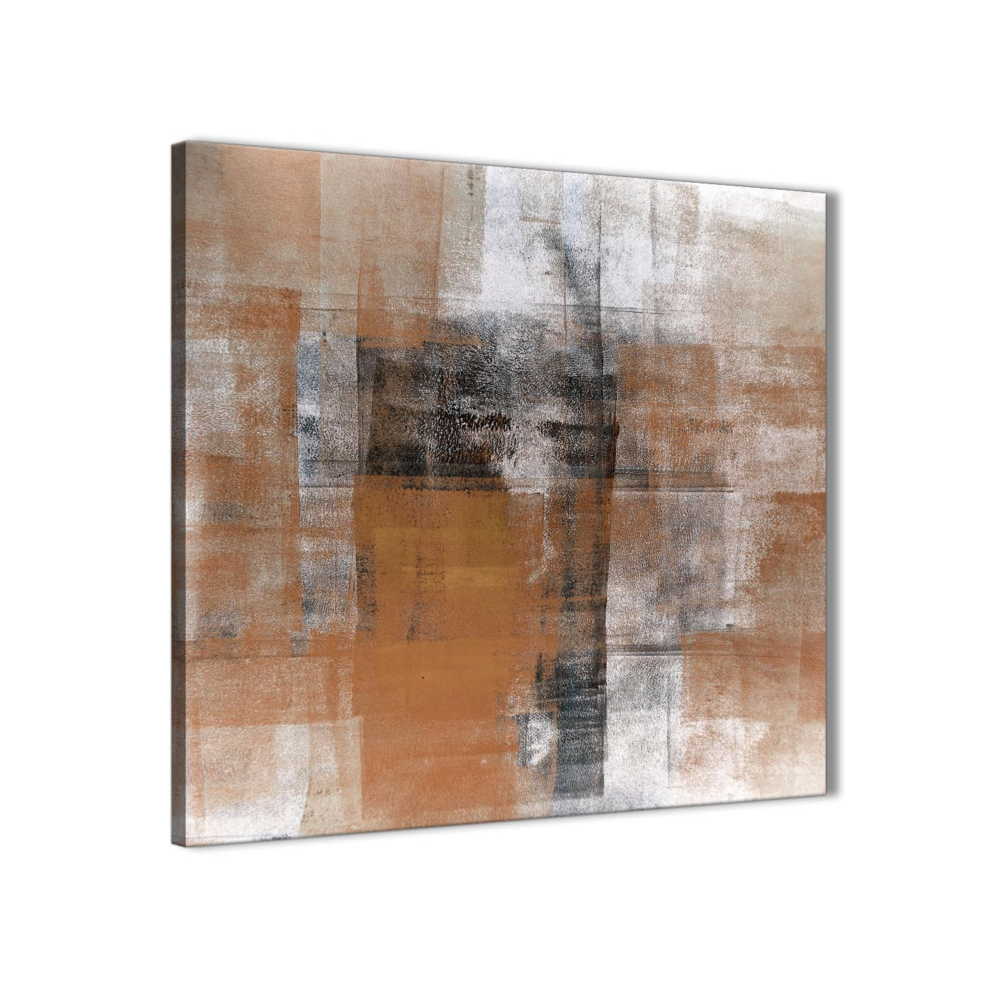Orange black white painting bathroom canvas wall art for Abstract painting on black canvas