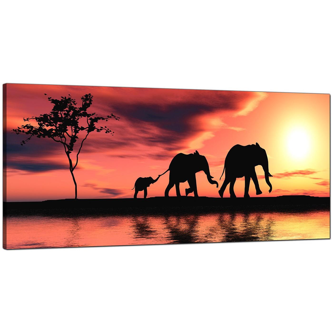 modern orange canvas art of african elephants
