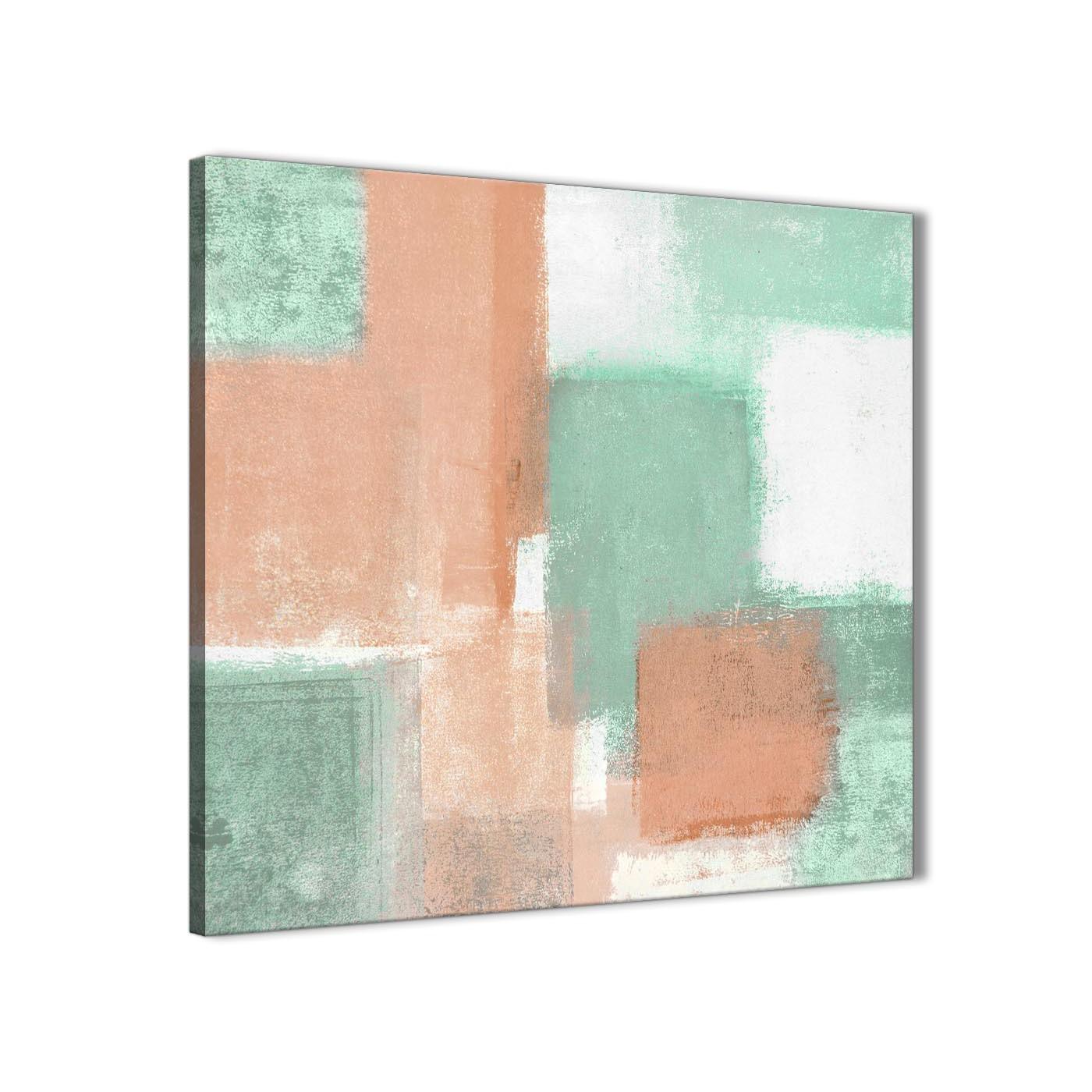 Peach Mint Green Bathroom Canvas Wall Art Accessories Abstract 1s375s 49cm Square Print