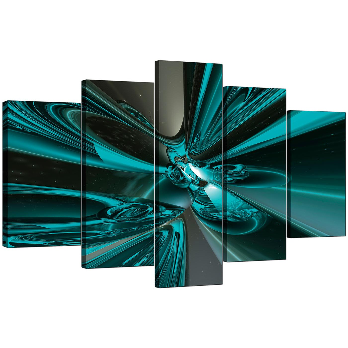Items Similar To Teal Purple Abstract Flowers Wall Decor: Extra Large Teal Abstract Canvas Prints