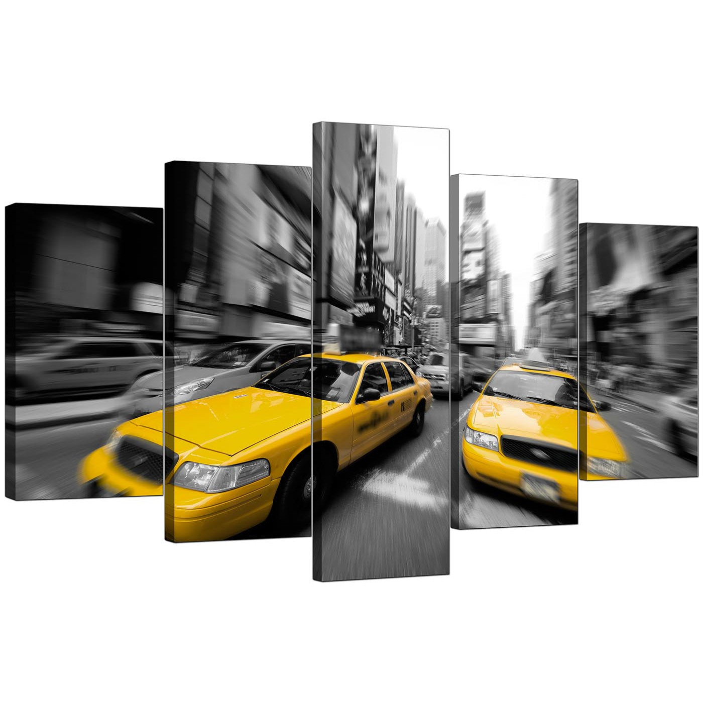Large Yellow New York Taxi Canvas Prints Set Of 5 In Black
