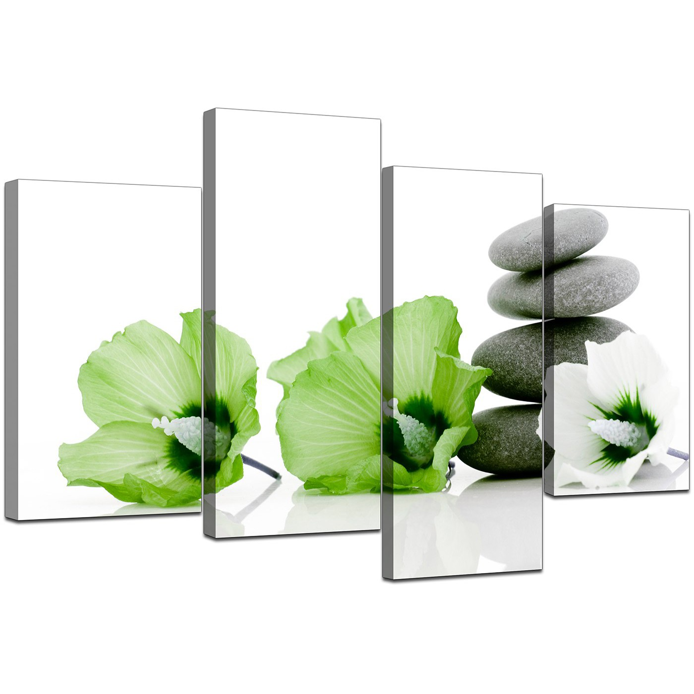 Canvas prints of flowers in green for your living room for Green wall art