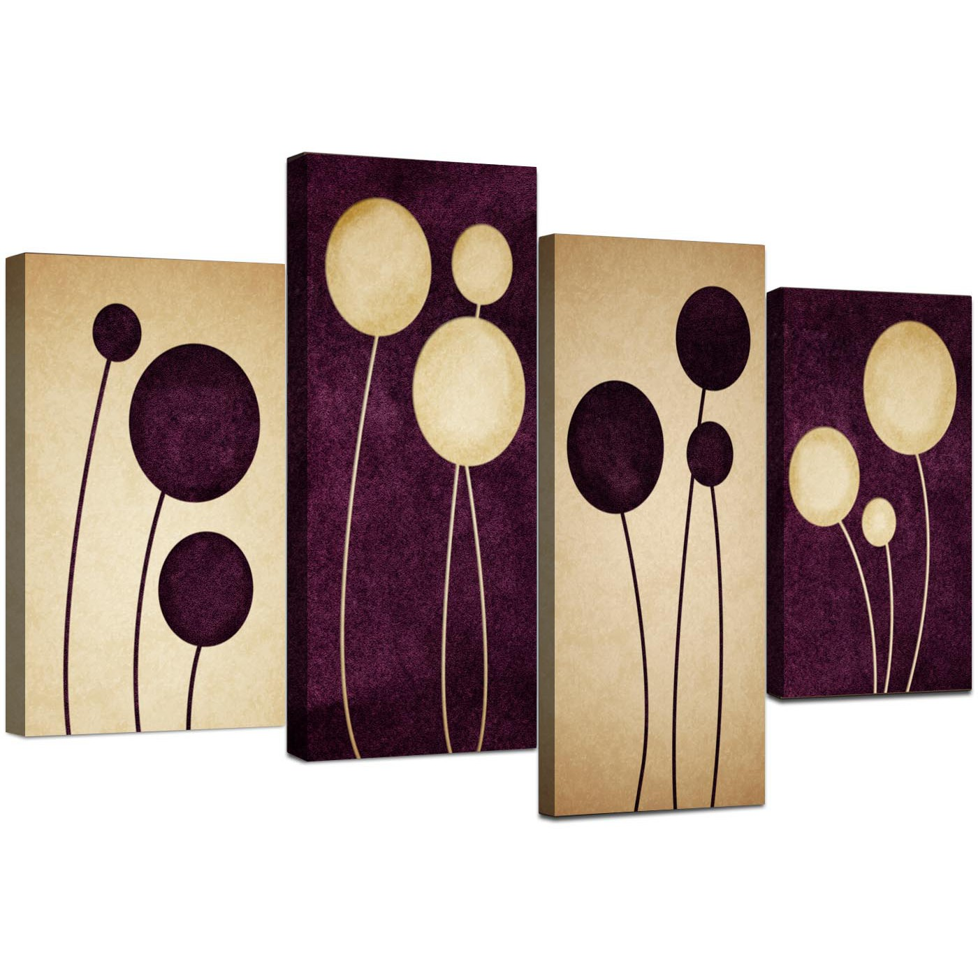 Display Gallery Item 5; Set Of Four Living Room Purple Canvas Wall Art  Display Gallery Item 6 Part 29