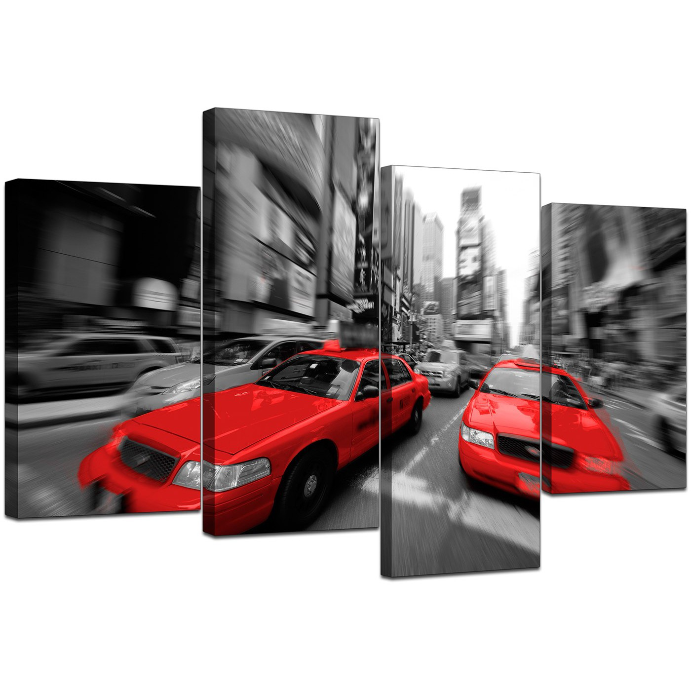 Red Canvas Wall Art new york canvas prints in black white & red - for living room