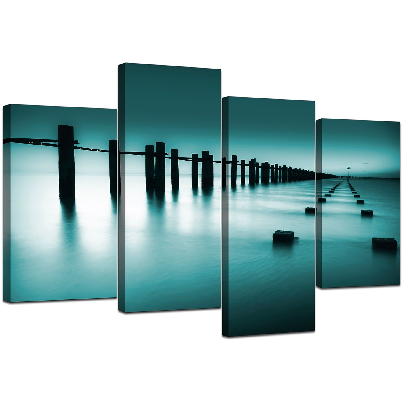 Teal Canvas Wall Art canvas prints of sea in teal for your bathroom