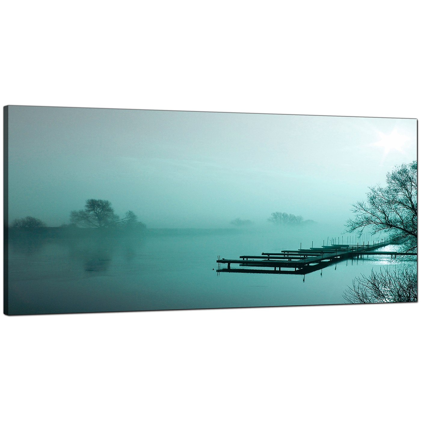 Large Teal Canvas Art Of A River Landscape