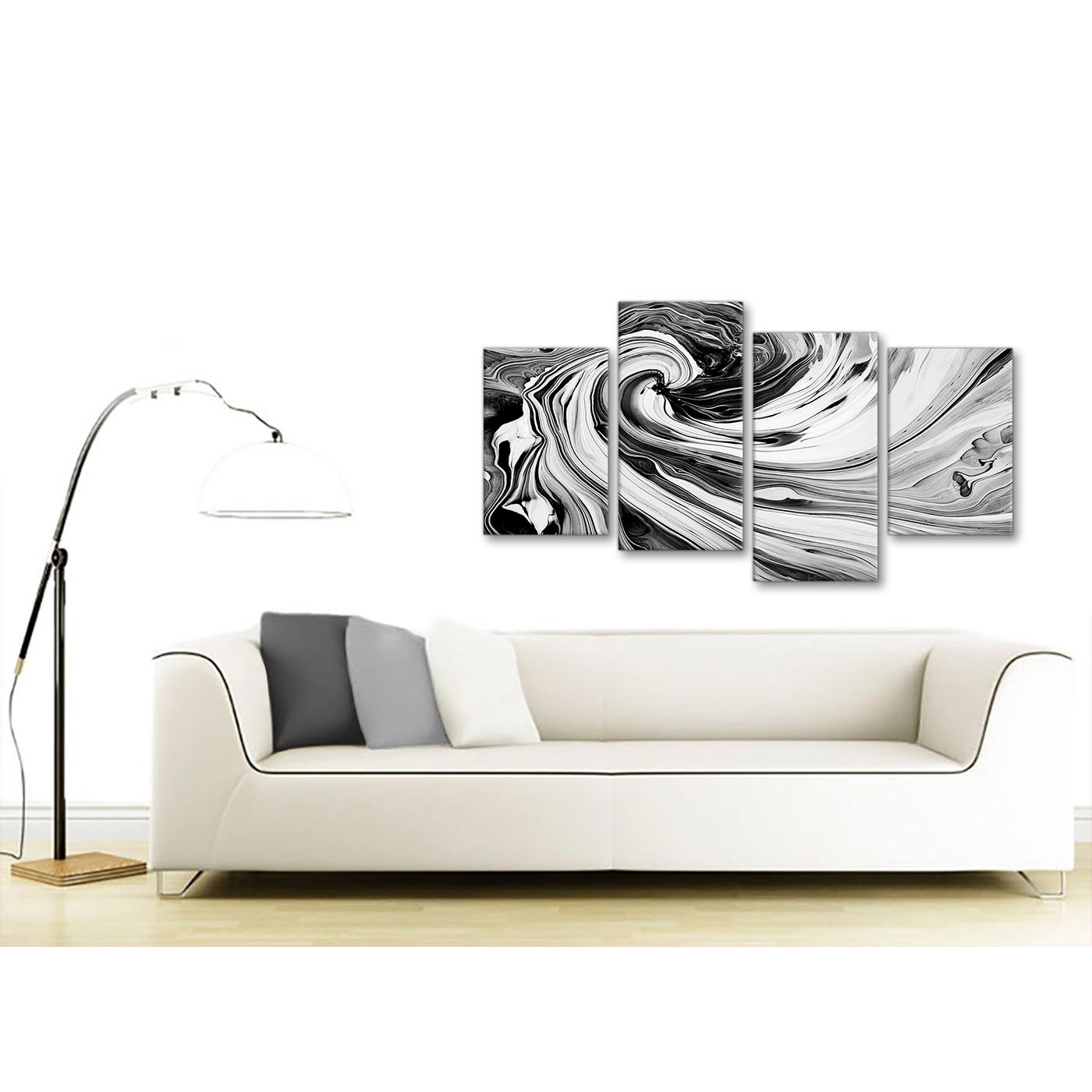 Large black white grey swirls modern abstract canvas wall for Sofa bed 130cm wide