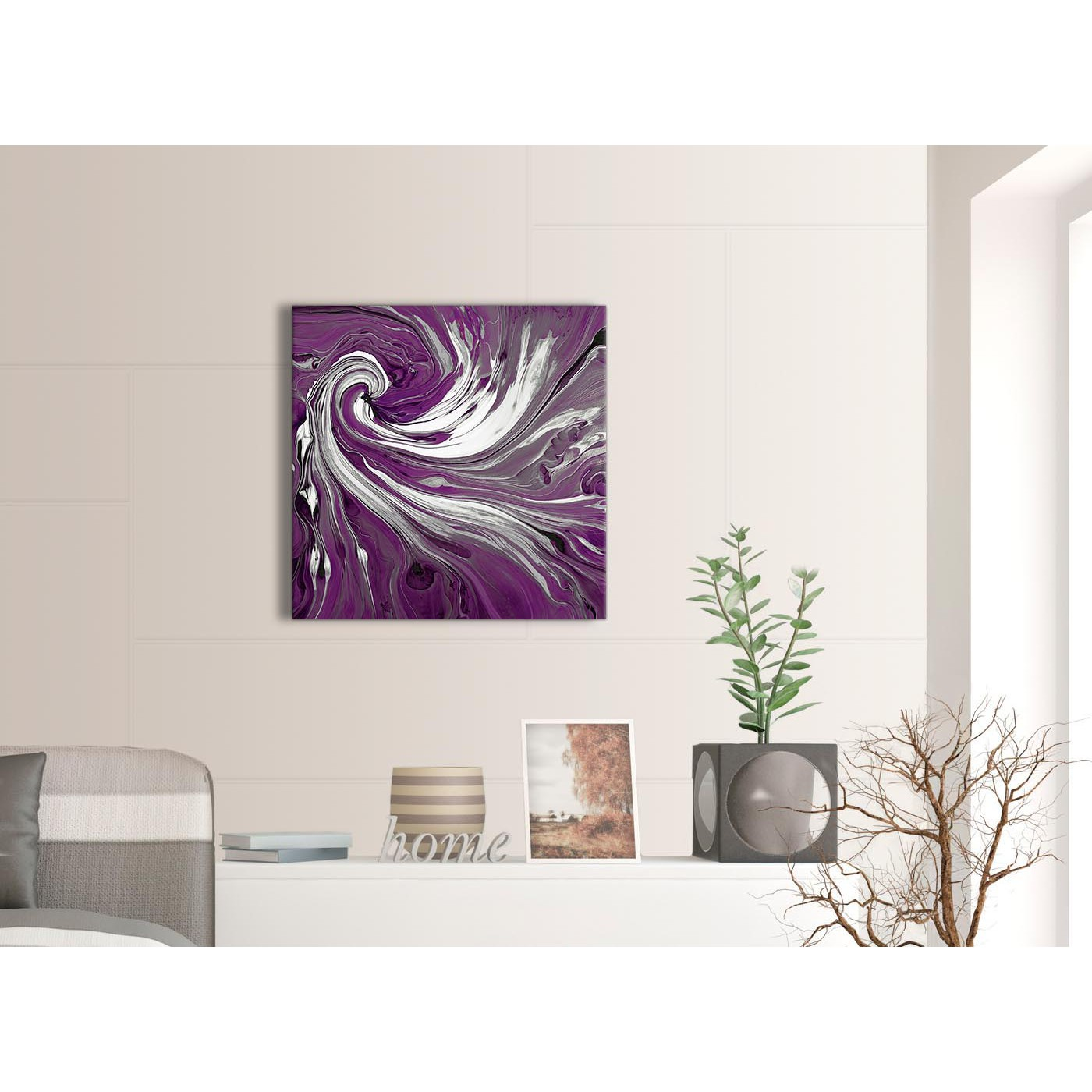 Display Gallery Item 3; Contemporary Plum Purple White Swirls Modern  Abstract Canvas Wall Art Modern 64cm Square 1S353M For Your Display Gallery  Item 4