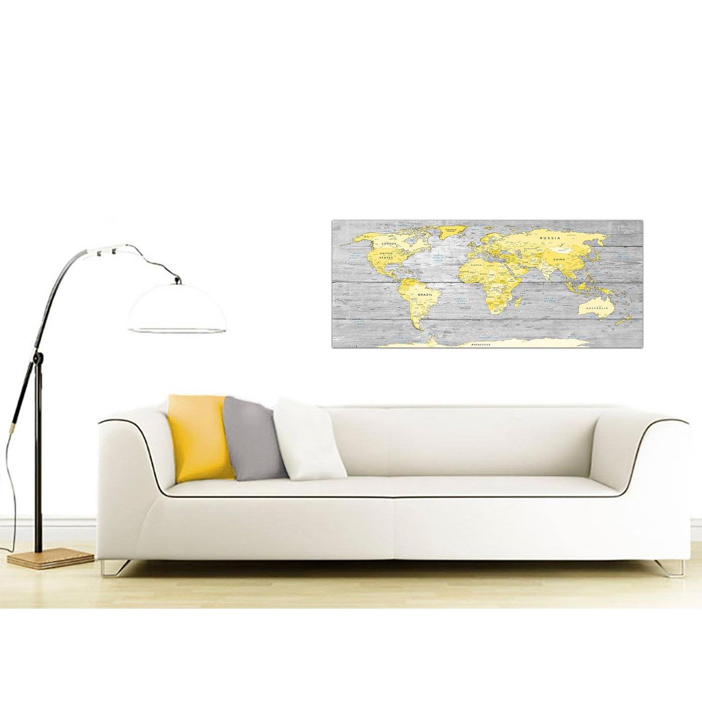 Large yellow grey map of world atlas canvas wall art print maps display gallery item 3 contemporary yellow grey large yellow grey map of world atlas canvas wall art print maps canvas display gallery item 4 gumiabroncs Choice Image