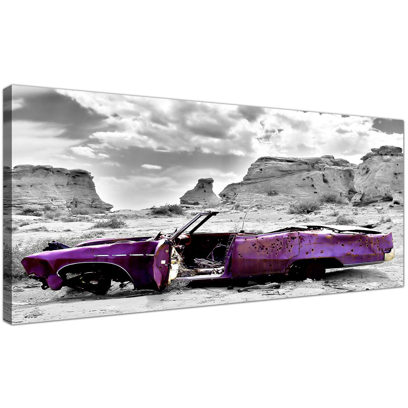 Cheap Canvas Wall Art Monochrome Grey Violet Wide Landscape 1144 Display  Gallery Item 1 ...