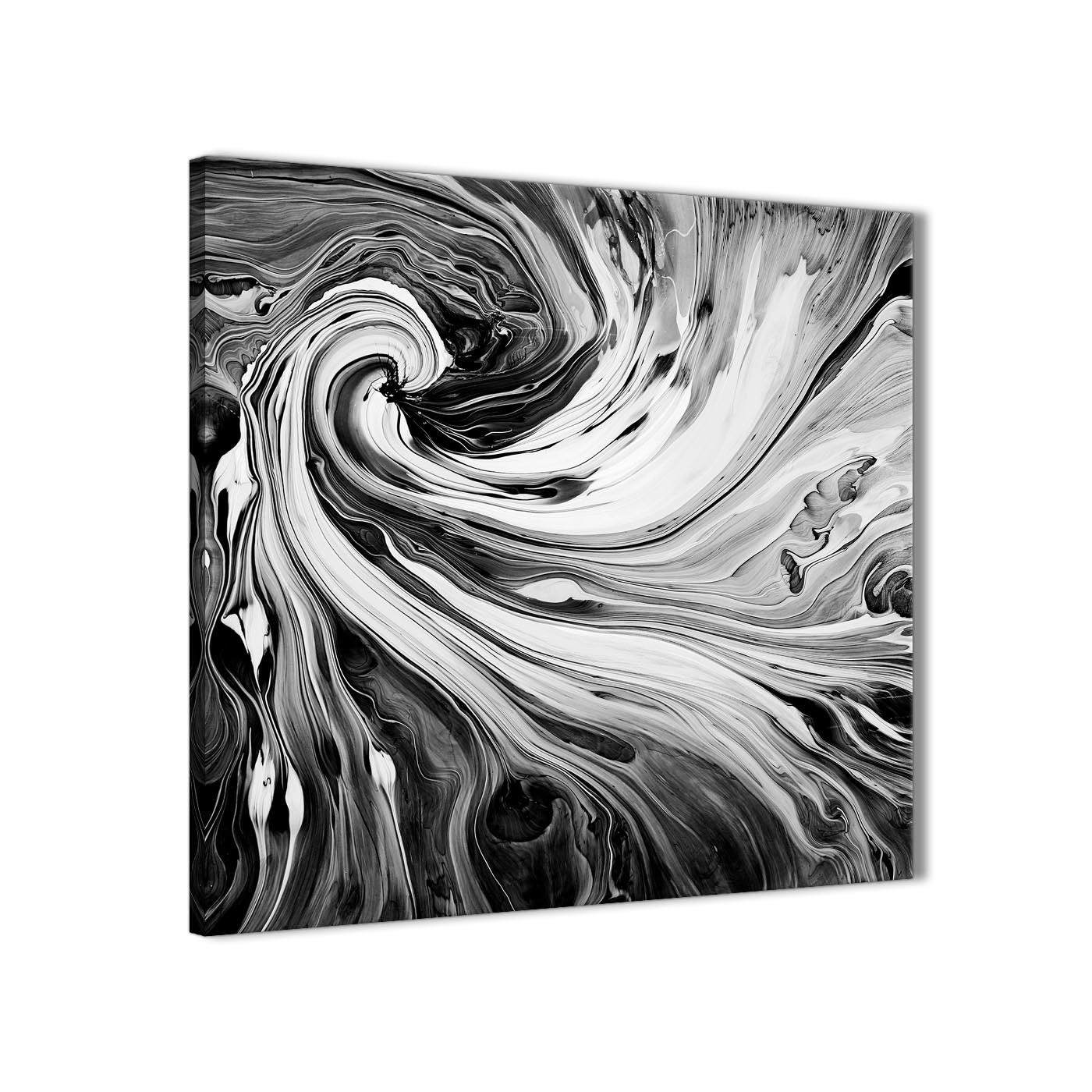 black white grey swirls modern abstract canvas wall art 49cm square 1s354s. Black Bedroom Furniture Sets. Home Design Ideas