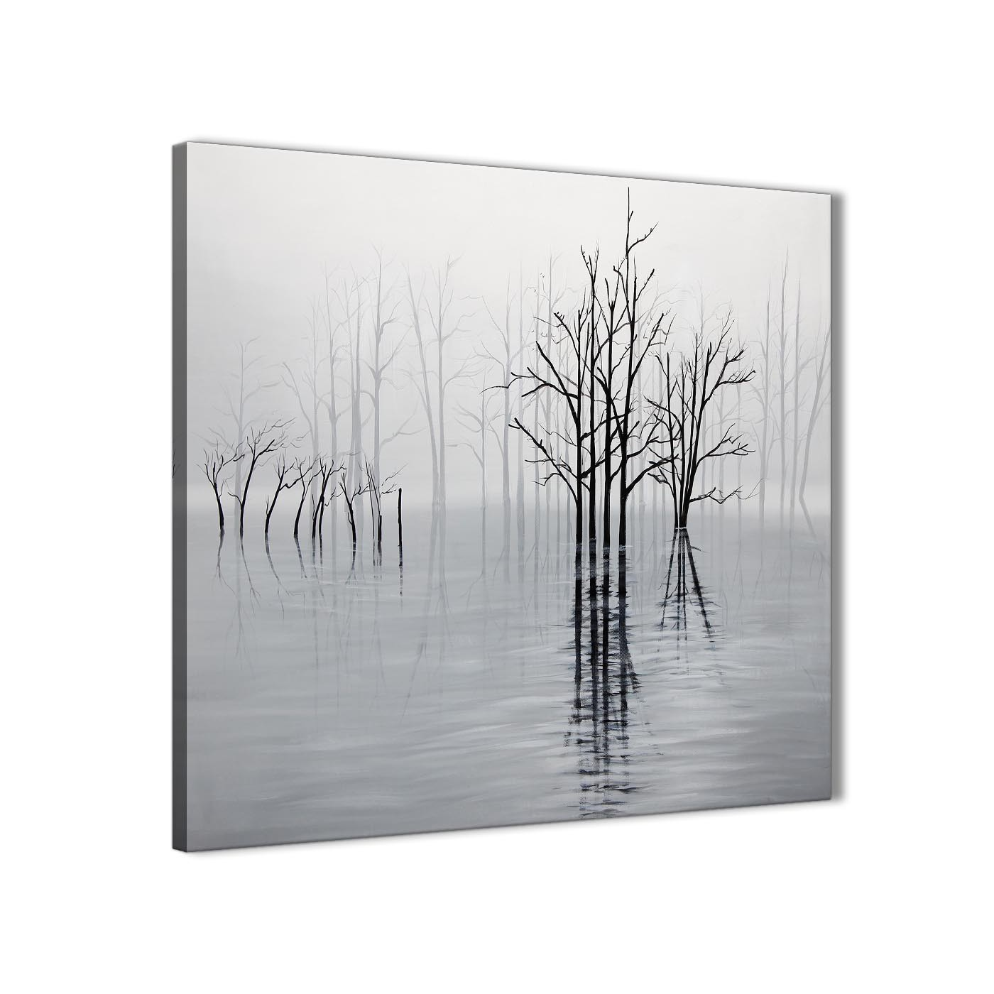 Modern Black White Grey Tree Landscape Painting Dining Room Canvas Pictures  Decorations 1s416l   79cm Square Display Gallery Item 1 ...