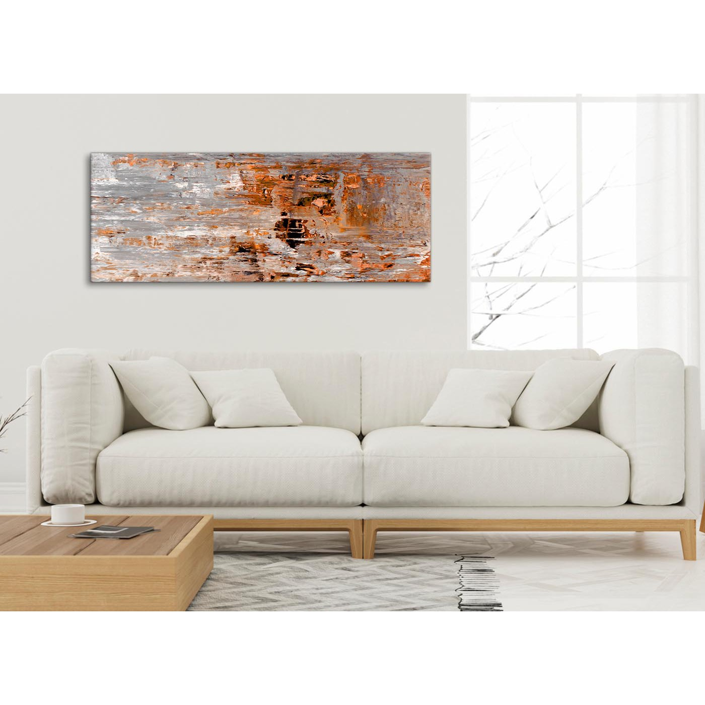 Burnt orange grey painting bedroom canvas wall art - Burnt orange bedroom accessories ...