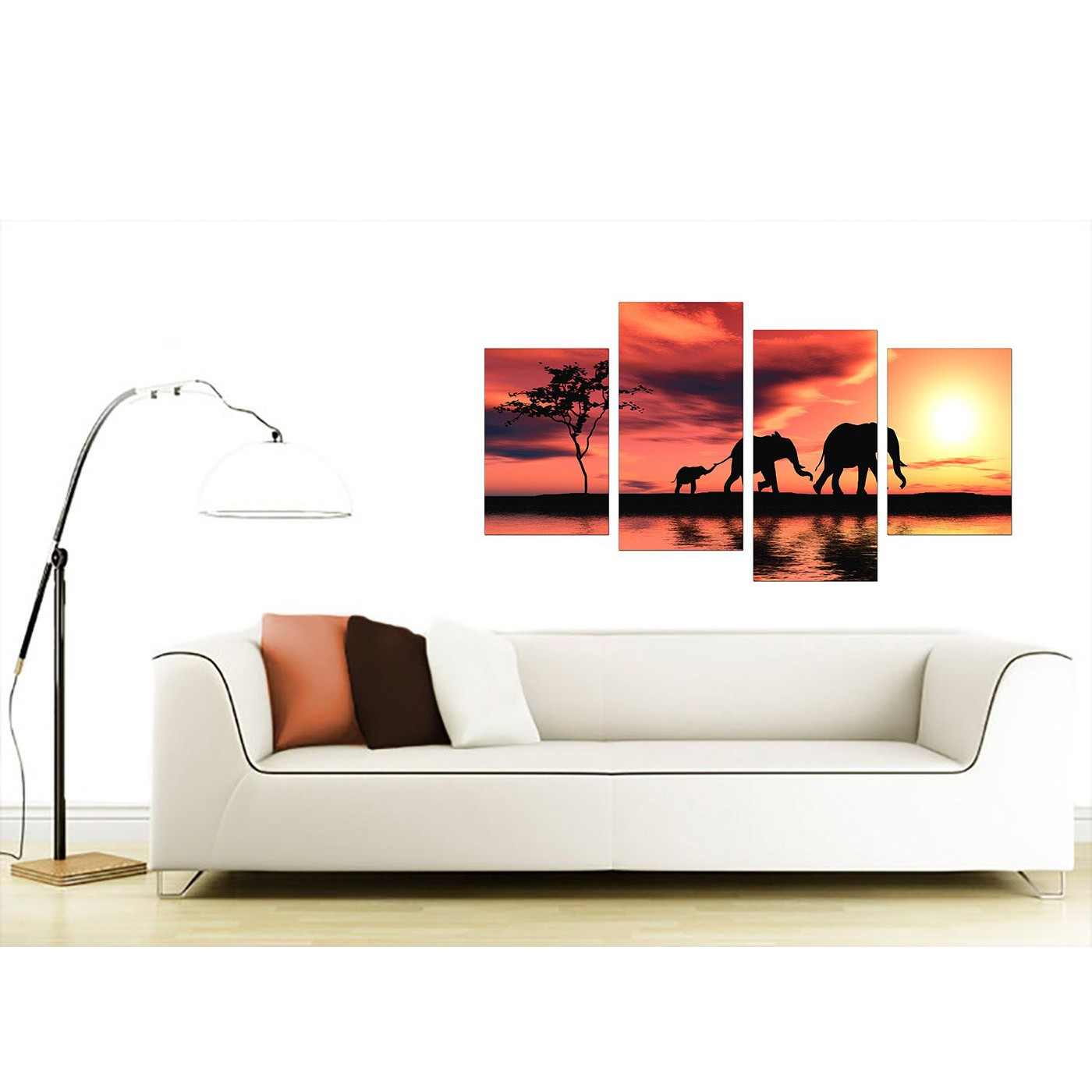 set of 4 canvas wall art shenra com canvas prints of african elephant in orange for your living room