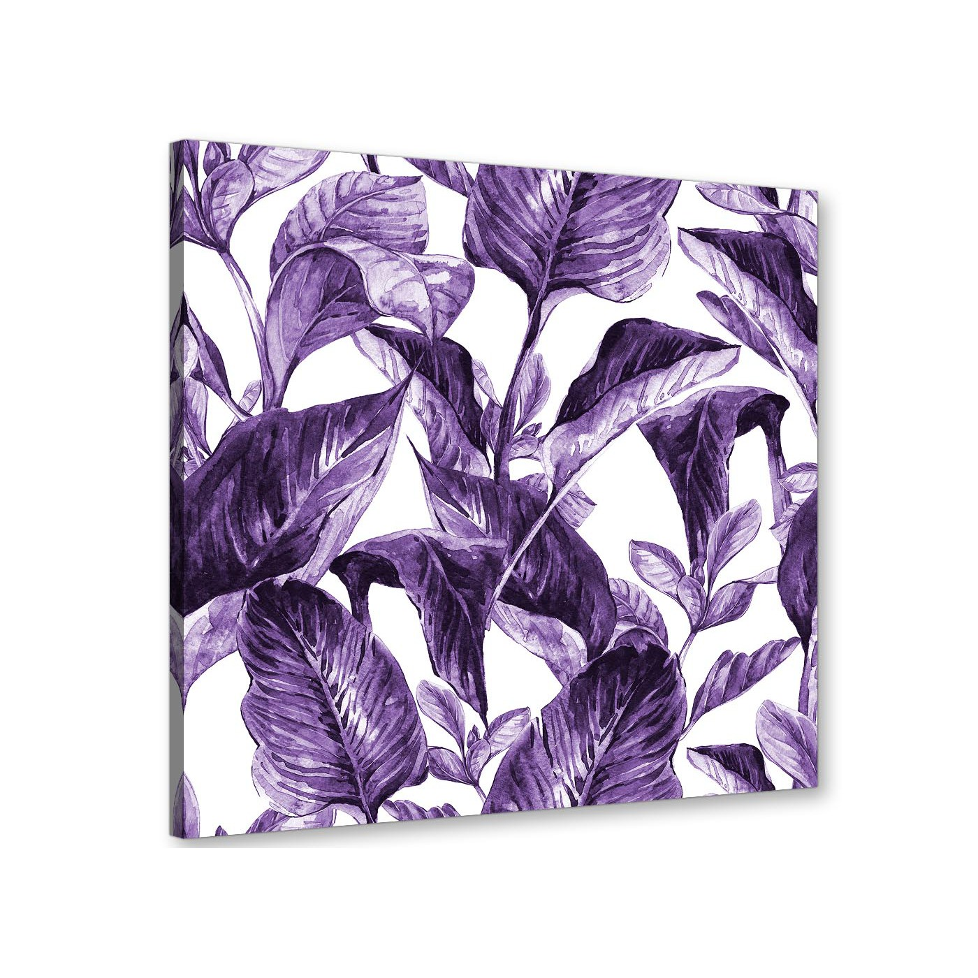Modern Dark Purple White Tropical Exotic Leaves Canvas 64cm Square 1S322M For Your Bedroom Display Gallery Item 1