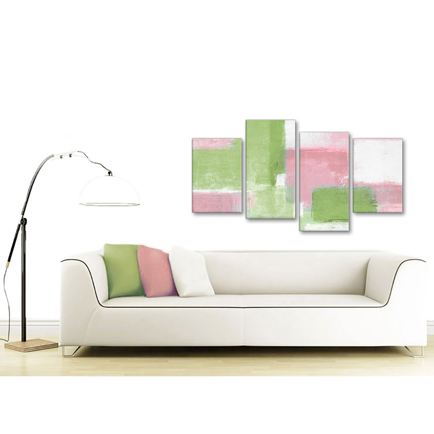 Large Pink Lime Green Abstract Bedroom Canvas Pictures