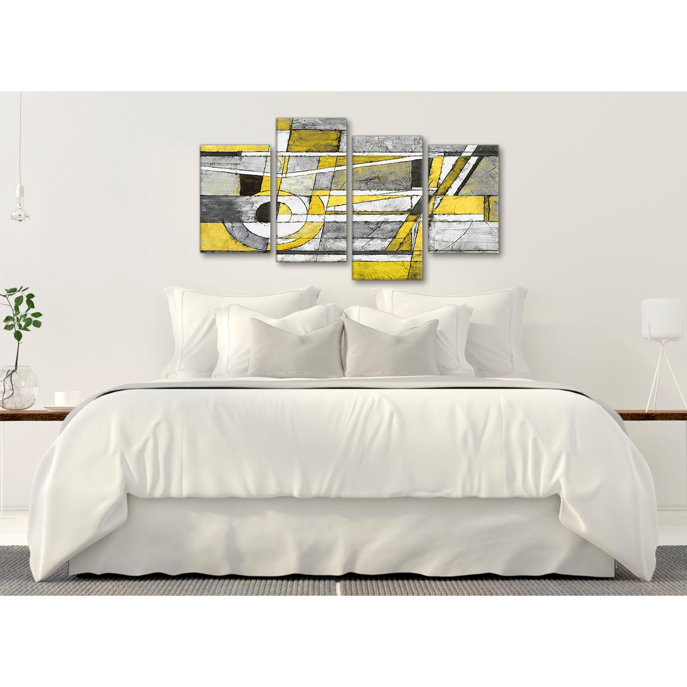 Display Gallery Item 3; Modern Large Yellow Grey Painting Abstract Bedroom  Canvas Wall Art Decor - 4400 - 130cm Set Display Gallery Item 4 ...