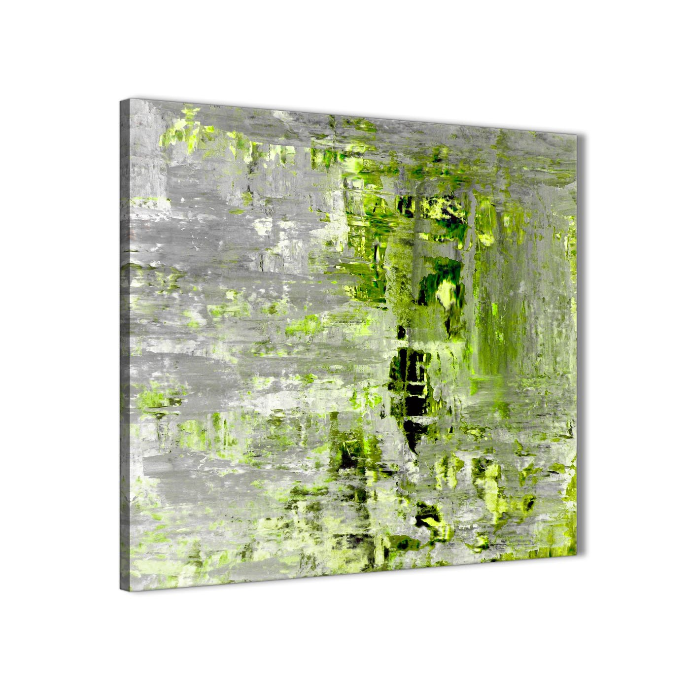 Lime green grey abstract painting wall art print canvas for Lime green wall art