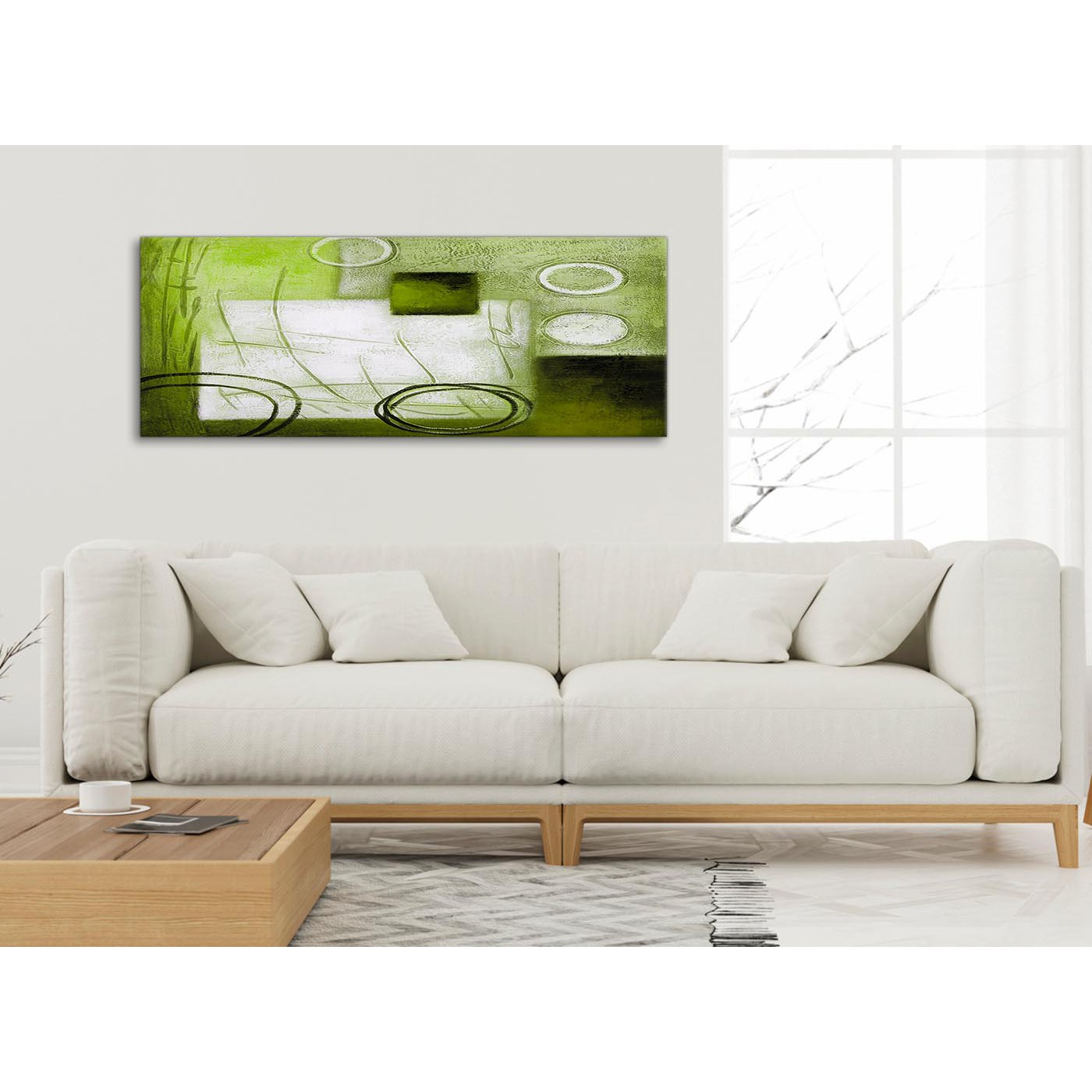 Lime green painting living room canvas pictures for Lime green wall art