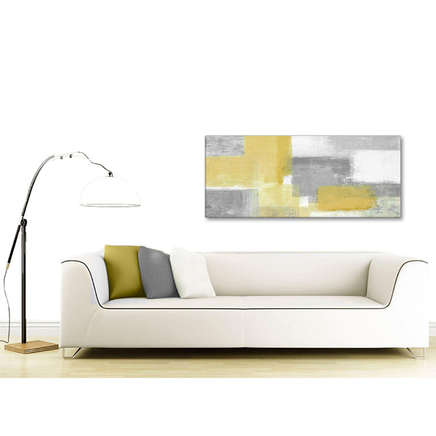 Display Gallery Item 4. Panoramic Mustard Yellow Grey Living Room Canvas  Wall Art Accessories ...