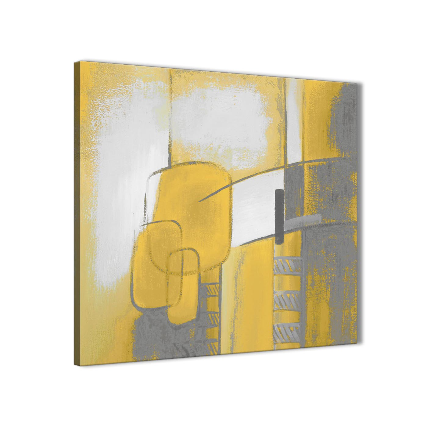 mustard yellow grey painting abstract bedroom canvas wall art decor 1s419l 79cm square print. Black Bedroom Furniture Sets. Home Design Ideas