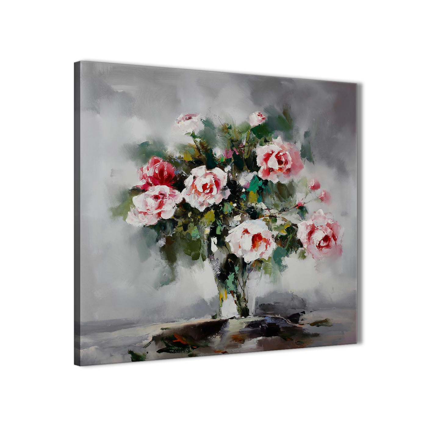 Wall art flower painting - Modern Pink Grey Flowers Painting Abstract Dining Room Canvas Wall Art Accessories 1s442l 79cm Square Display Gallery Item 1