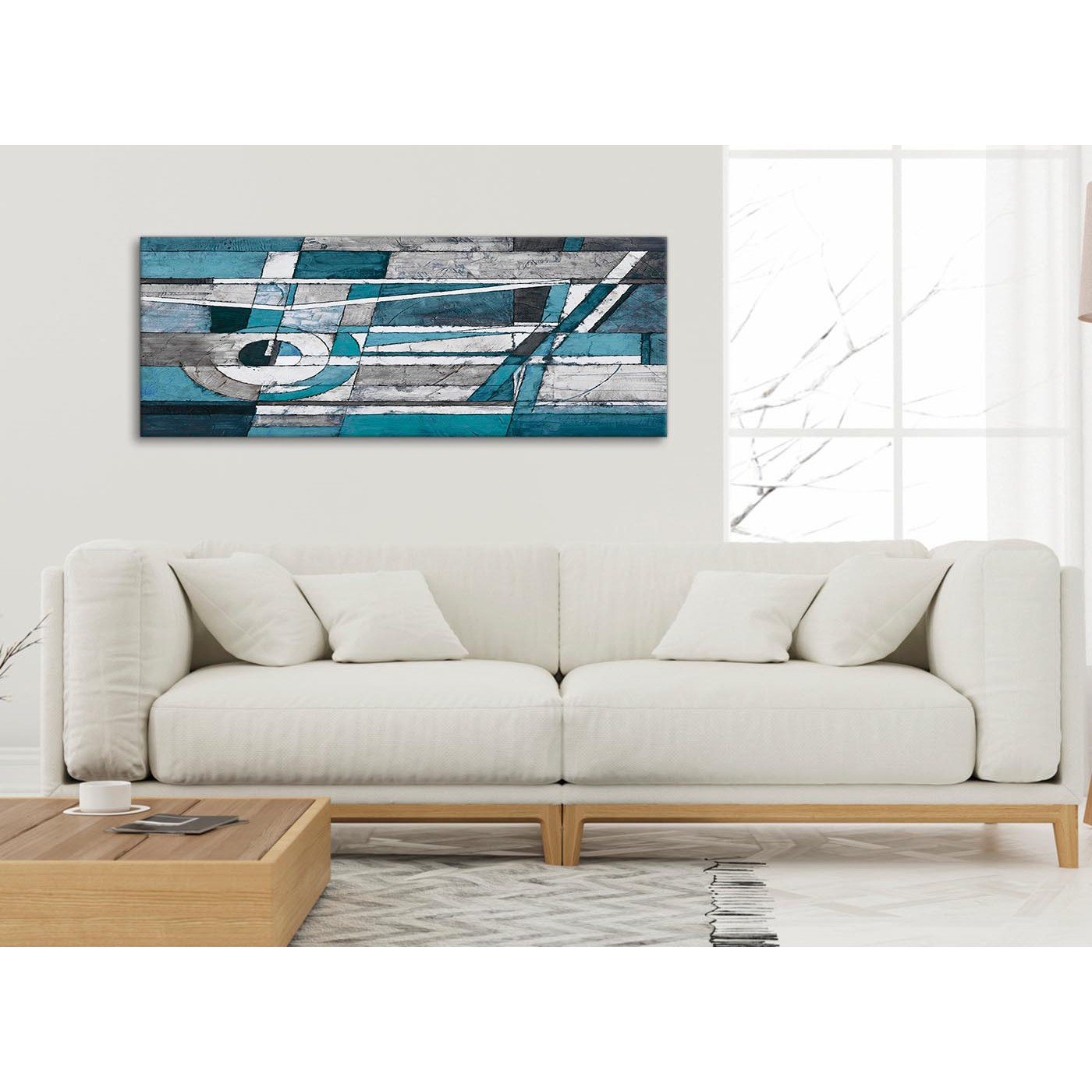 Teal grey painting living room canvas wall art accessories abstract 1402 120cm print - Living room canvas art ...