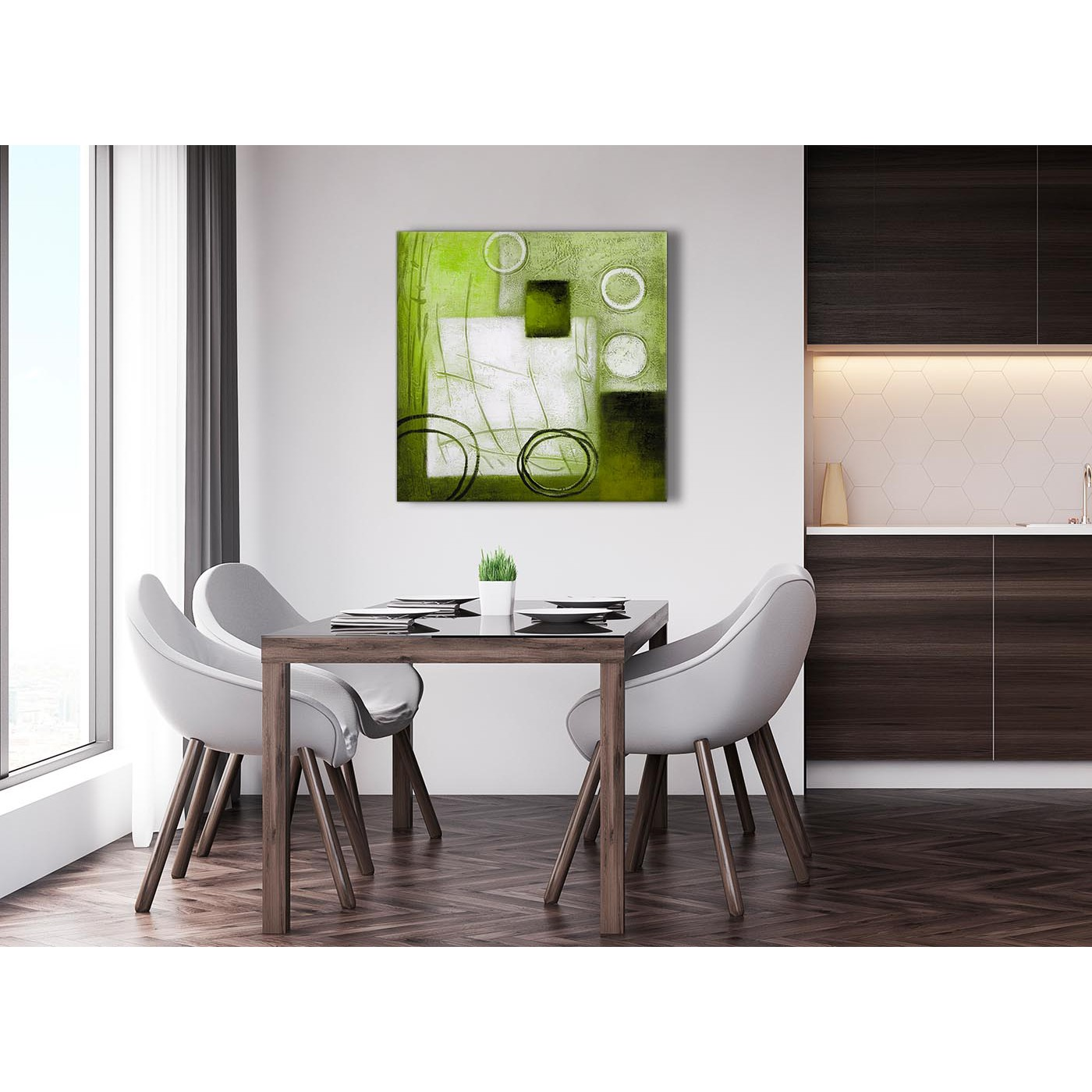 Display Gallery Item 4. Modern Lime Green Painting Abstract Living Room  Canvas Wall Art Decor 1s431l   79cm Square Print