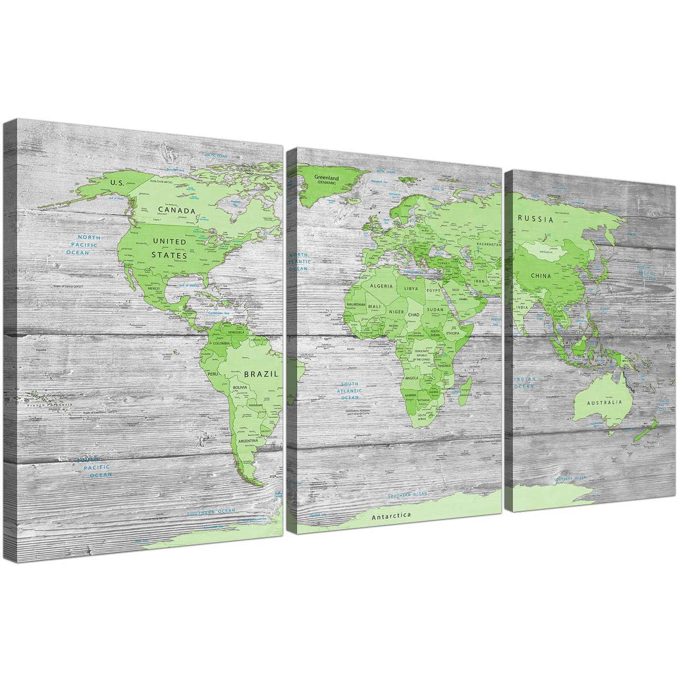 Large lime green grey world map atlas canvas wall art for Lime green wall art