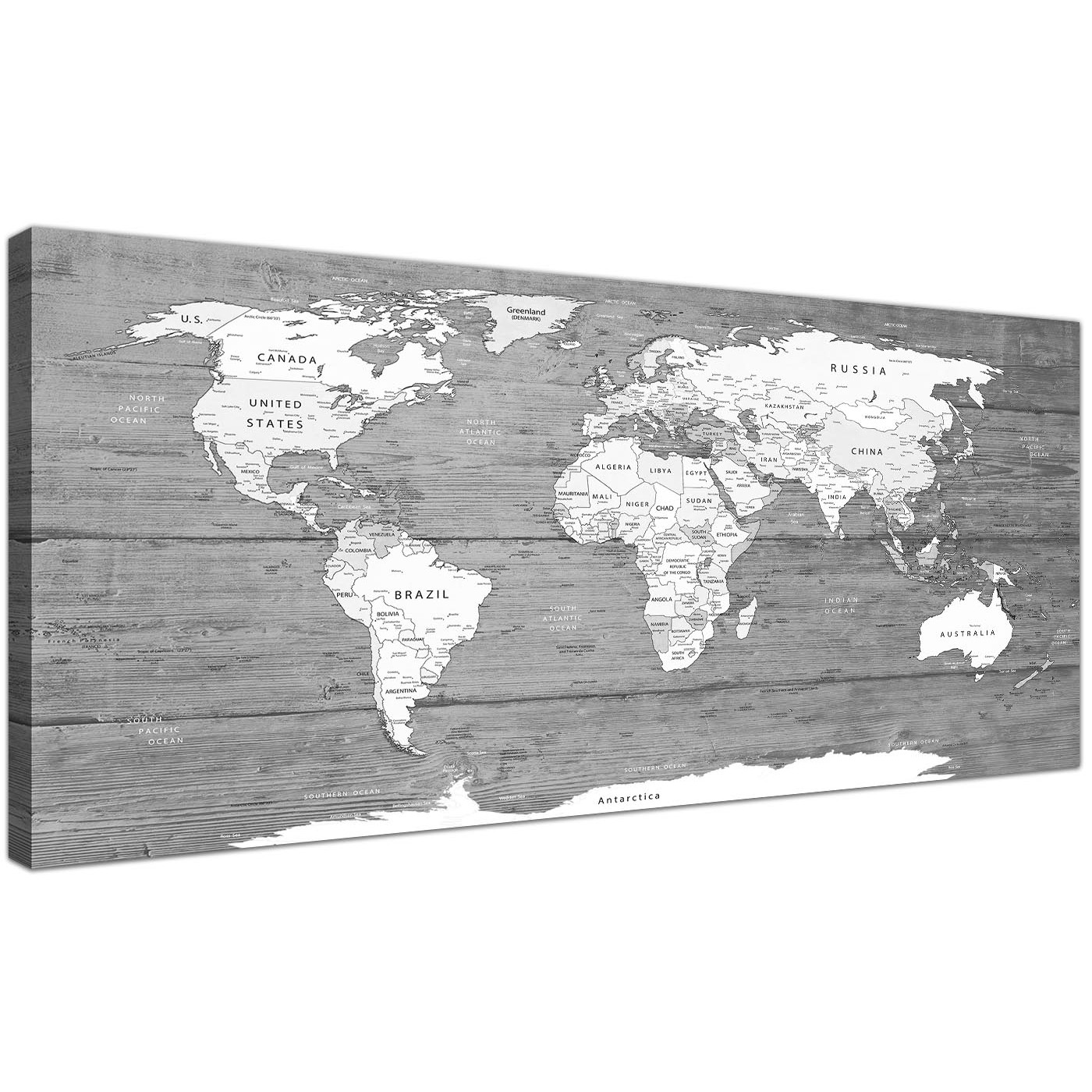 Large black white map of world atlas canvas wall art print oversized large black white map of world atlas canvas wall art printmodern 120cm wide 1315 for display gallery item 1 gumiabroncs Images